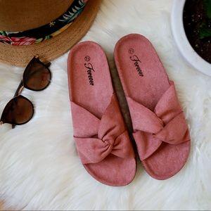 Mauve Tie Knot Slides Cork Bed Comfy Sandals